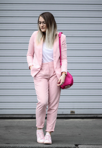 paris grenoble blogger jacket t-shirt suit pink jacket pink pants shoulder bag sneakers french paris asos adidas shoes alexander wang