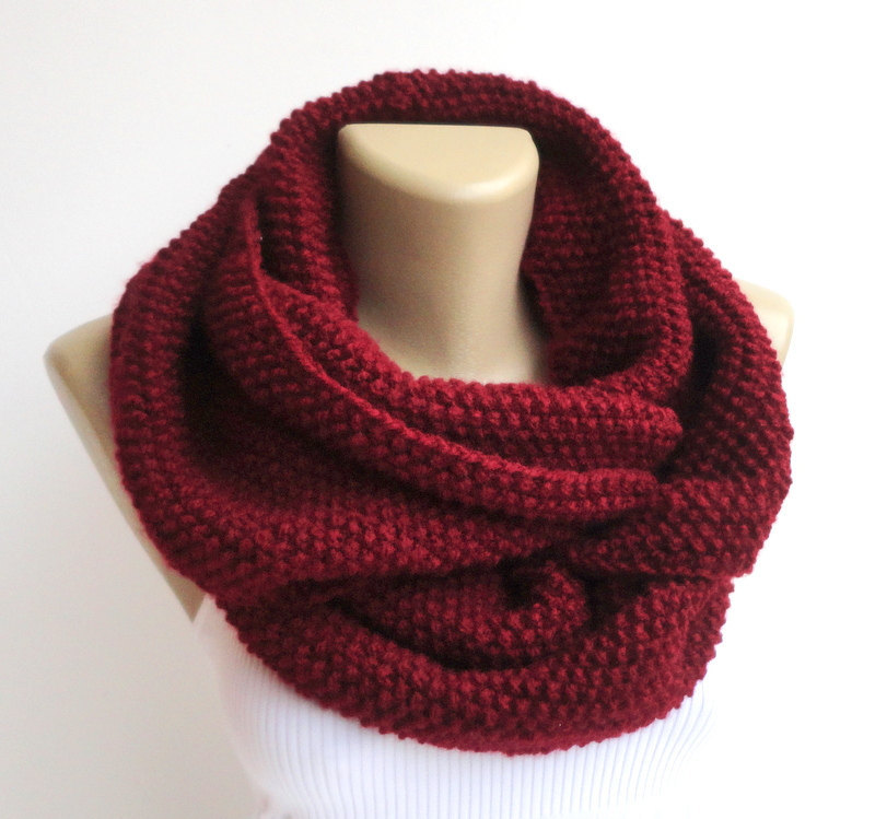Burgundy Knitted Infinity Scarf Knit Scarf Women Infinity Chunky Hood Circle Neckwarmer Winter