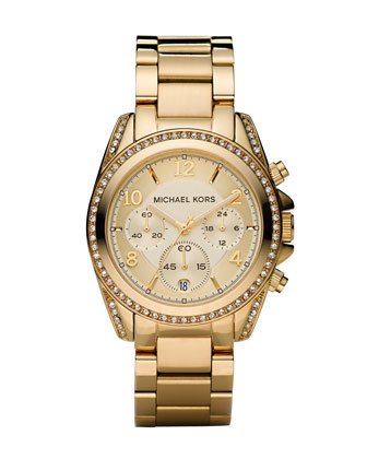 Michael Kors Golden Runway Watch with Glitz - Neiman Marcus