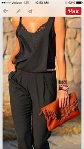 pants,black jumpsuit,belt,sunglasses,dress,jumpsuit,black,hat,nude,romper,summer,summer outfits,overalls