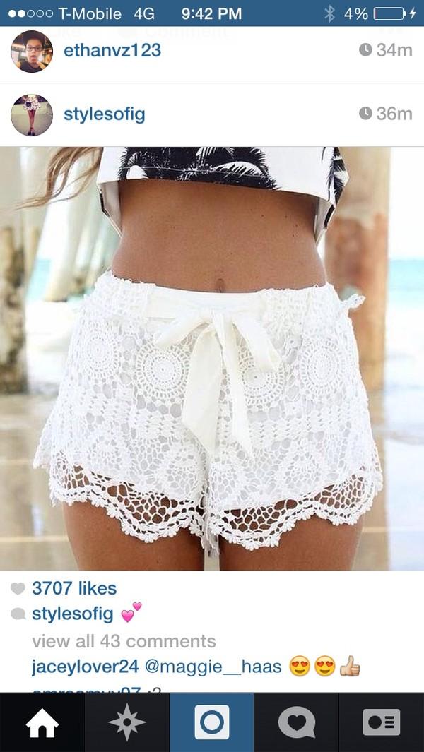 shorts white lace white tie white lace shorts white shorts shirt