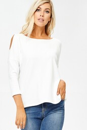 top,white,cold shoulder,thermal,textured