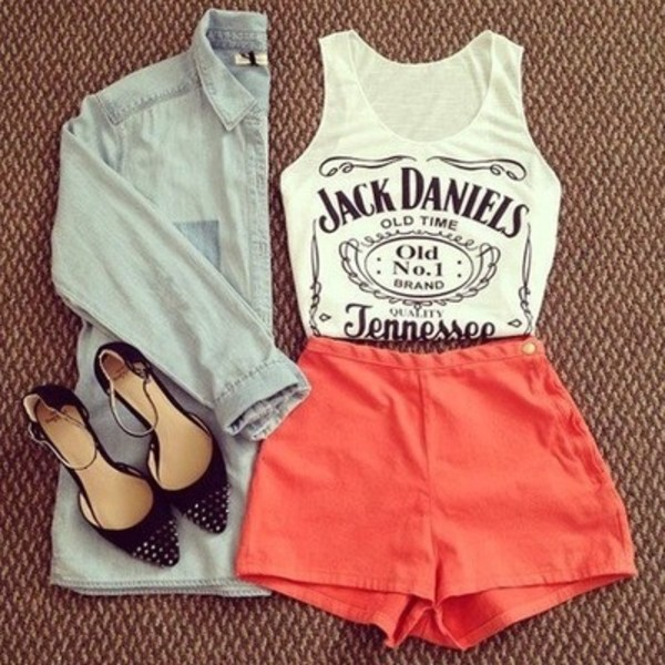 tank top fashion clothes look cute beautiful summer shorts top shoes shirt black and white jacket blouse jack daniels shirt t-shirt t-shirt dress style jack daniel's denim shorts orange orange shorts high wisted shorts high waisted high waisted denim shorts denim denim jacket high heels high heels