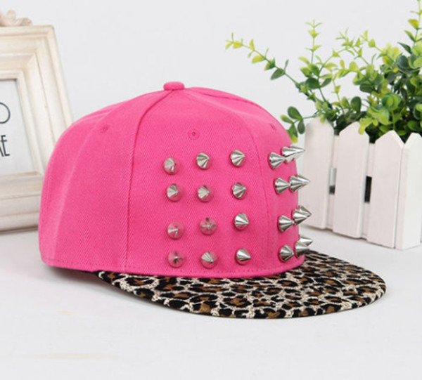 hat pink snapback leopard print spikes