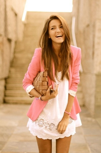 jacket pink blazer cute and simple lace dress