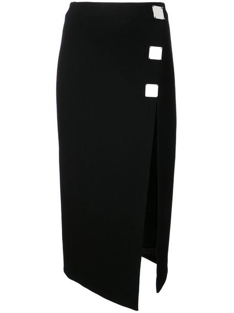 David Koma - metal plaque detail skirt - women - Wool/Polyamide/Spandex/Elastane - 8, Black, Wool/Polyamide/Spandex/Elastane