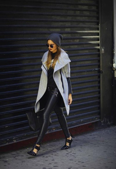 grey black coat leather long coat