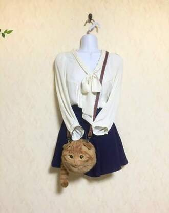 bag cats tabby scottish fold scottish fold cat kawaii tumblr cute lovely sweater cream orange stripes shoulder bag purse fur fluffy soft knot navy skirt cardigan realistic realism neat special