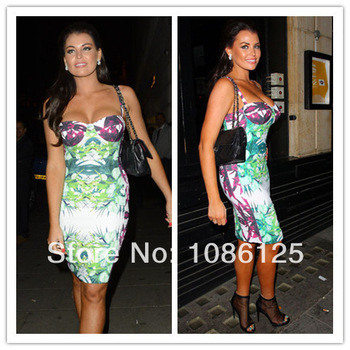 Free Shipping Big Sale Sexy Spaghetti Straps Floral Print HL Bandage Dress 2014 New-in Dresses from Apparel & Accessories on Aliexpress.com