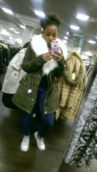 jacket winter parka green khaki coat green parka fur coat