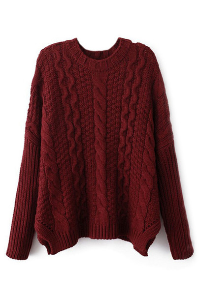 Sweater: red, burgundy, cute, cute sweater, knit, tumblr, pretty ...