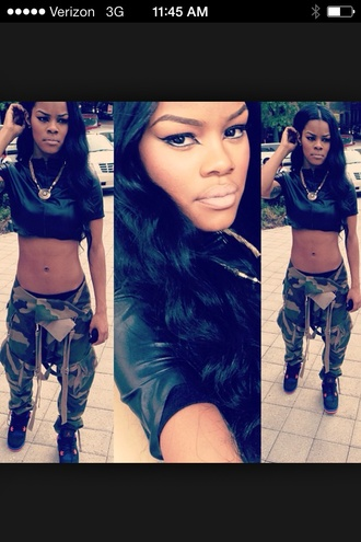 pants fatigues green military army green camouflage teyana taylor fashion dope shirt