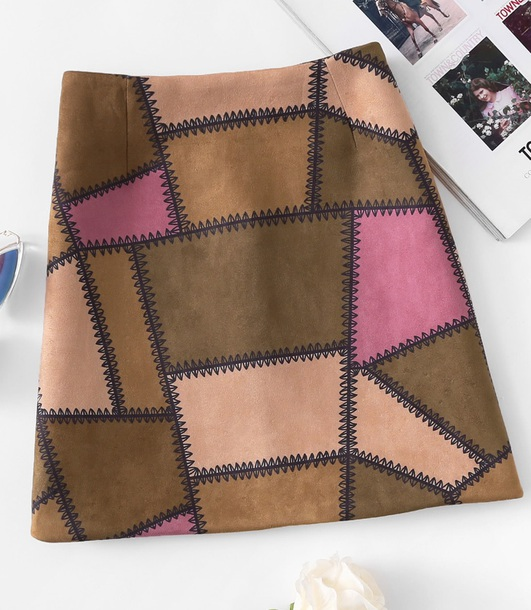 skirt girly suede suede skirt patchwork patch mini mini skirt