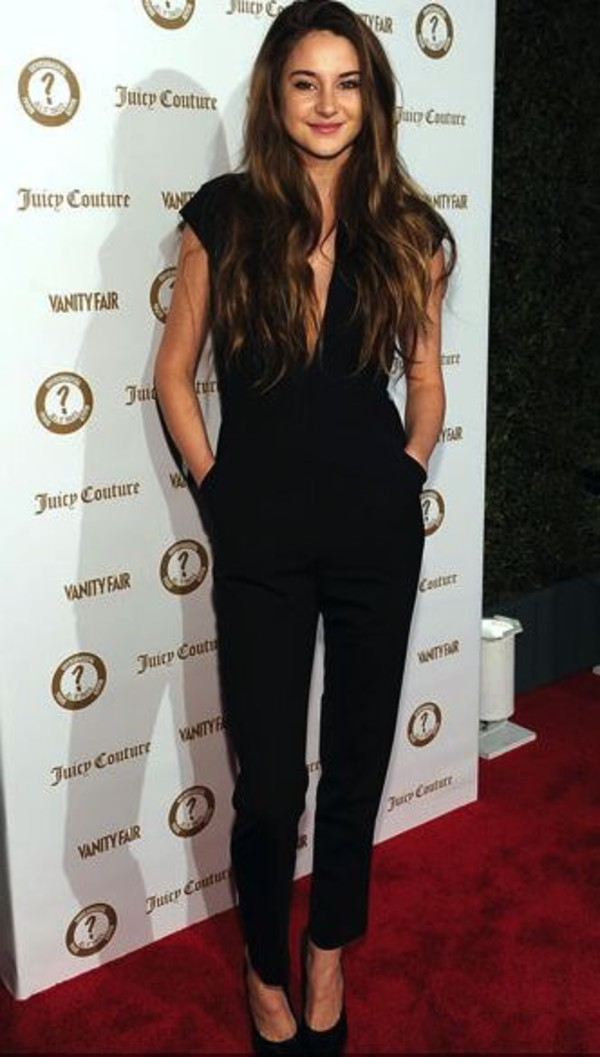 Jumpsuit black cute beautiful top elegant classy shailene woodley black jumpsuit plunge ...