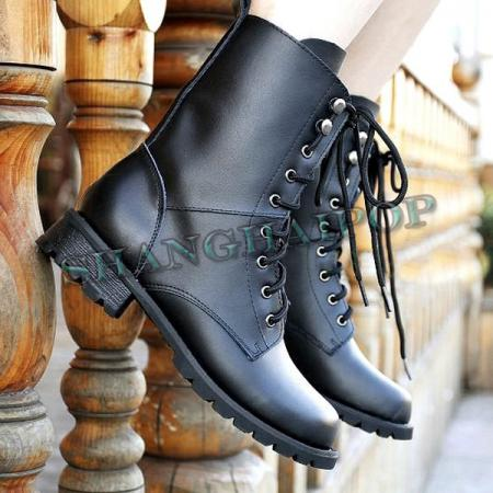 Men Military Boots Ladies Motorcycle Leather Biker Combat Riding ...