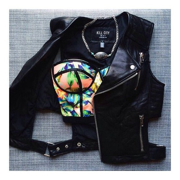 jacket gilet black sleeveless leather summer outfits t-shirt tank top bustier tropical summer top quilted panel multicolor black panels bralette jewels