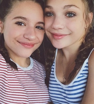 tank top both tops mackenzie ziegler maddie ziegler stripes singlet red blue white sisters top