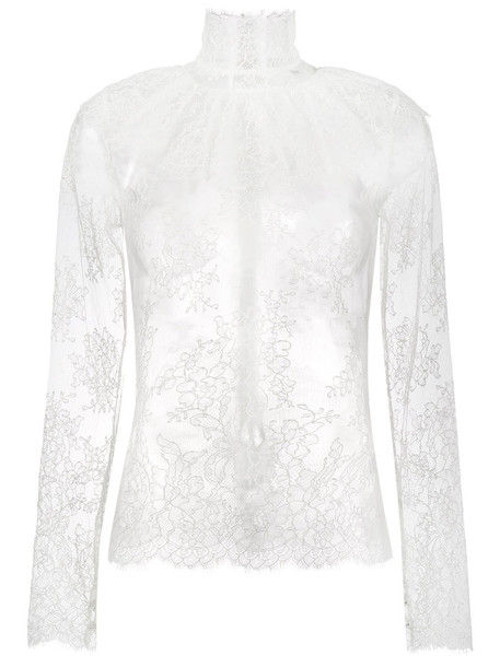 Bella Freud blouse sheer women lady lace white cotton top