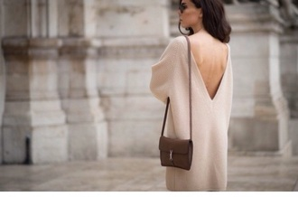 low back v neck sweet classy beige beige sweater cozy sweater fall outfits snow wintery style beige dress low back dress v neck dress deep back fall sweater sweater weather pumpkin
