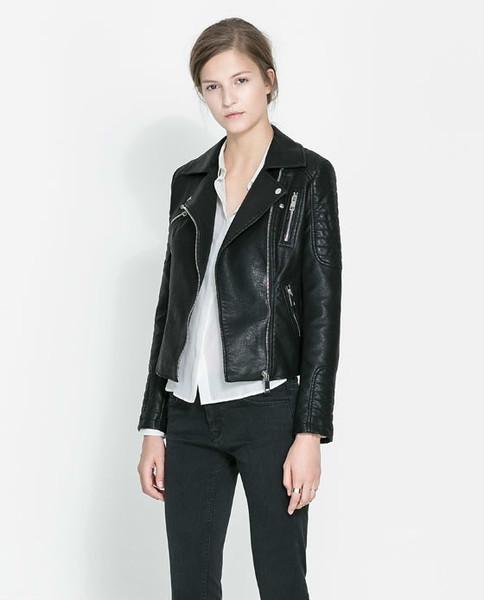 Slim leather zipper jacket