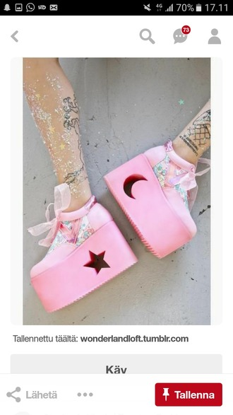shoes pink platform shoes kawaii cute aesthetic