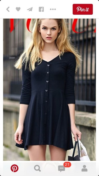 dress style skater skater dress black black dress summer dress fashion college three-quarter sleeves