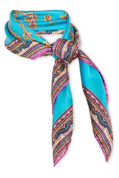 scarf silk satin blue bright