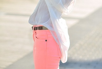 pink summer outfits blouse belt jeans neon pastel chiffon blouse chiffon bright colored coral