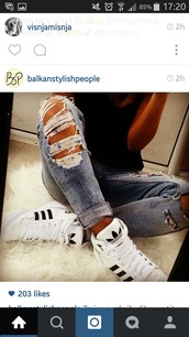 shoes,adidas shoes,jeans,adidas,black and white,stripes,pastel sneakers,adidas originals,white,ripped jeans