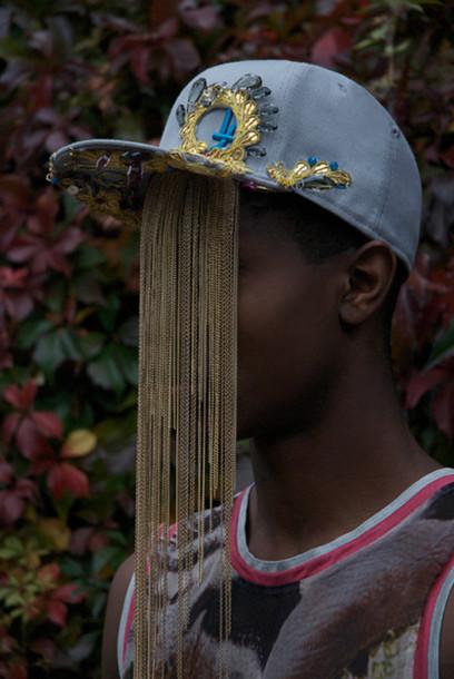 gold chain snapback hat blue jewels