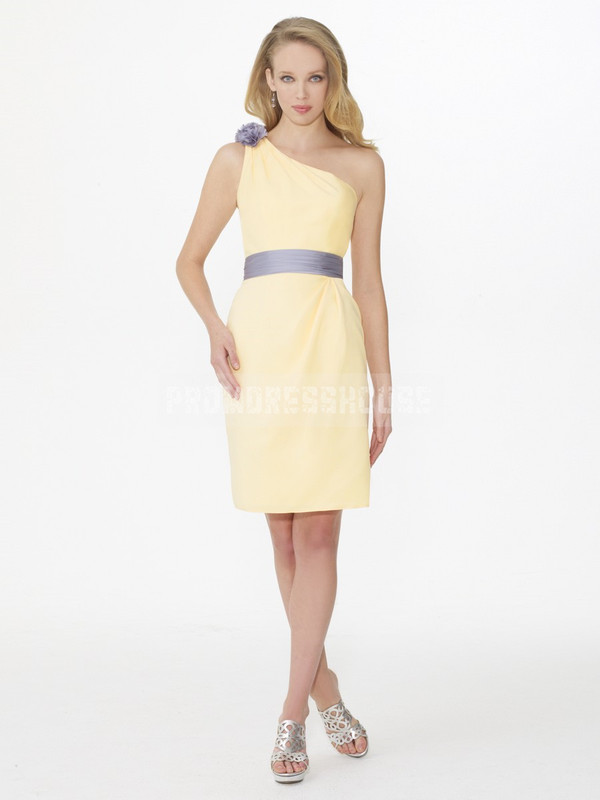 bridesmaid short dress fashion dress yellow dress party dress prom dress one shoulder dresses