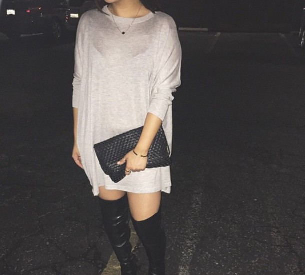 Sweater Grey Sweater Dress Oversized Sweater Thigh High Boots
