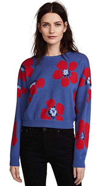 alice + olivia sweatshirt crop sweatshirt floral blue sweater