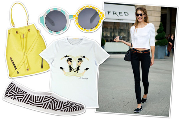 black pants shoes bag flats t-shirt white t-shirt circle sun glasses