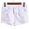 White button ripped denim shorts - sheinside.com