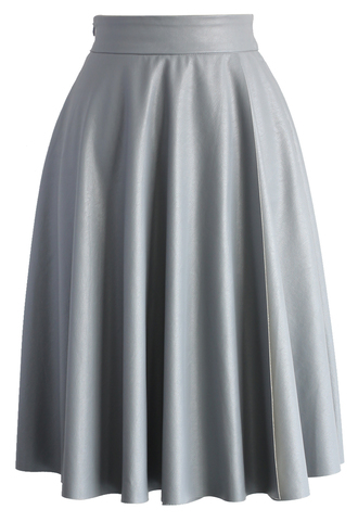 skirt textured faux leather skirt in grey chicwish grey leather faux