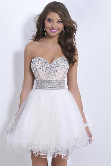 white dress homecoming dress party dress cocktail dress 2014 short party gown elegant dress organza  dress 2014