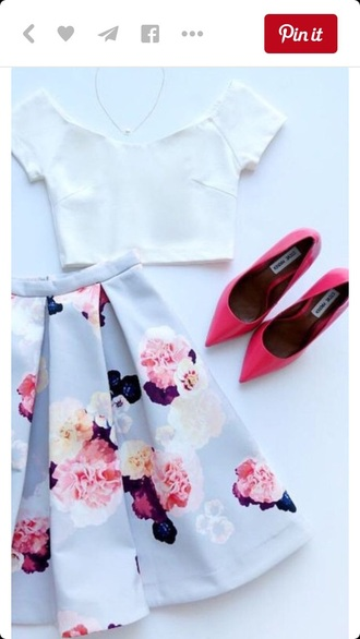 skirt midi skirt skater skirt pleated skirt floral skirt crop tops white crop tops top classy girly