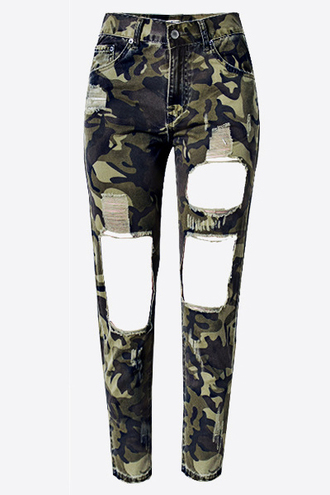 jeans pants bottoms camouflage army green ripped ripped pants ripped jeans green