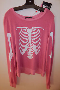 WILDFOX PINK SKELETON BAGGY SWEATER sz M NEW 100%AUTHENTIC