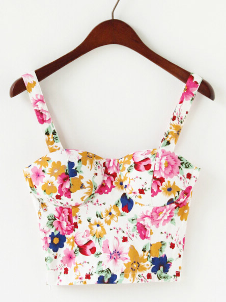 Pink & yellow floral white strap crop bustier top