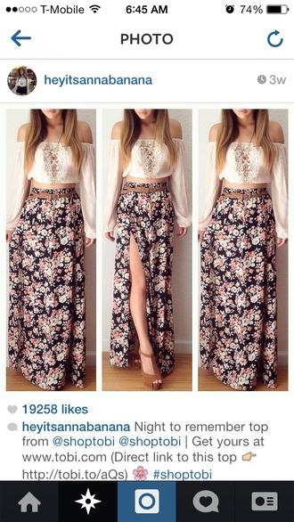 skirt foral skirt slit skirt slit maxi skirt