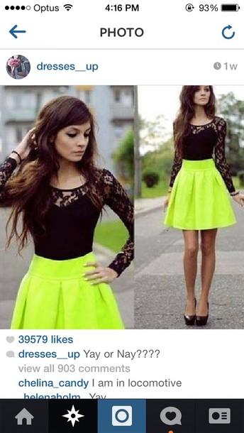 skirt lime amazing dress neon black lace dress