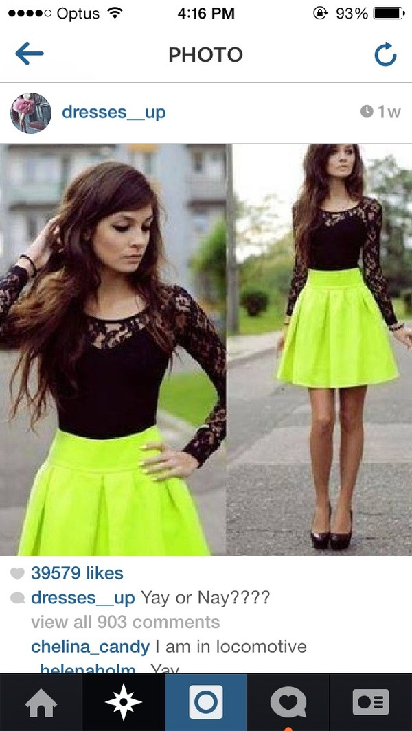 skirt lime amazing dress neon black lace dress