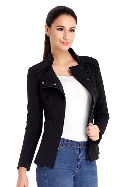 Black Asymmetrical Zipper Split-Front Blazer
