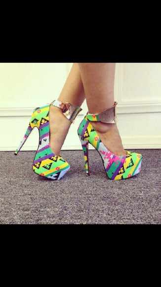 multicolor shoes shoes multicolor yellow pink high heels strap