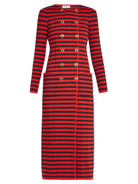 SONIA RYKIEL Double-breasted striped-knit cardigan coat in red