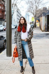 dylana suarez,blogger,coat,blouse,jeans,shoes,belt,bag,orange bag,winter outfits,ankle boots,winter coat