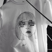 girl,sunglasses,shirt,white,tumblr outfit,t-shirt,grunge,hip,art,arty,artist,design,black and white,grunge t-shirt,tumblr shirt,Artist palette,white t-shirt,tank top,pale,tumblr