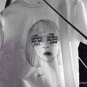 girl sunglasses shirt white tumblr outfit